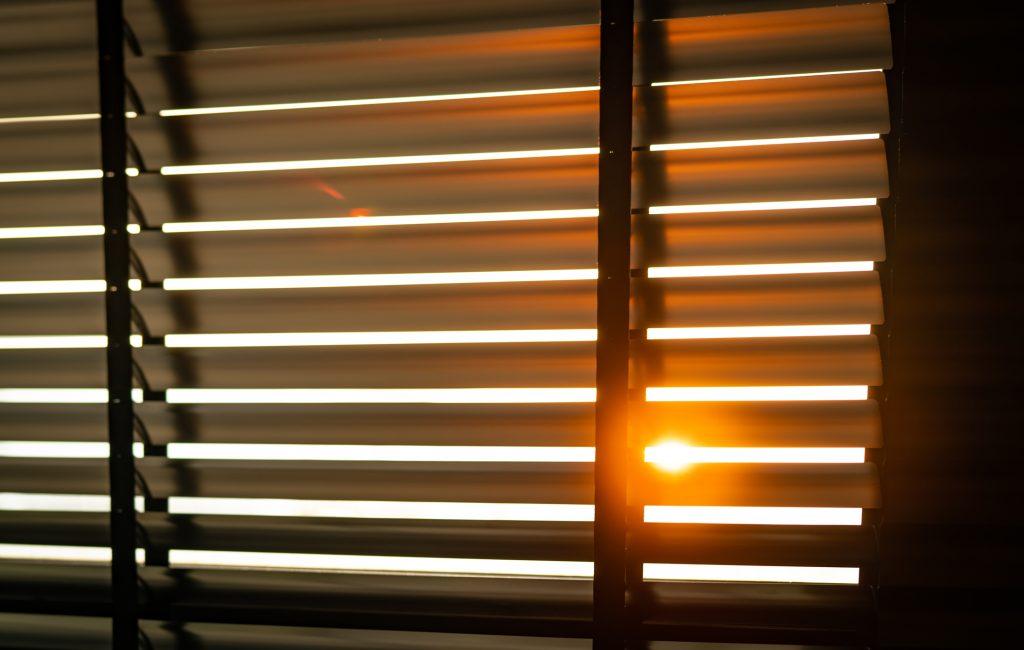 Opened venetian plastic blinds